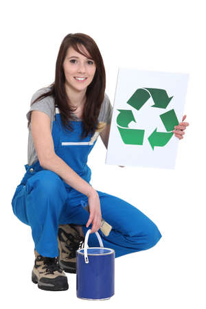 painter girl: A female painter promoting recycling