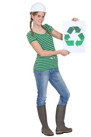 recycle bin: Woman holding reciclar logo