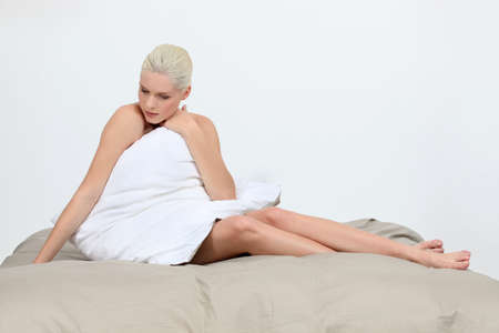 Blonde on bed Stock Photo - 15718163