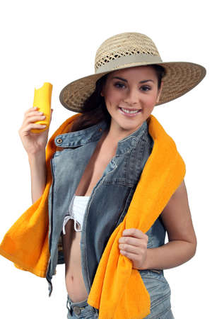 skin cancer: Young woman with sun protection Stock Photo