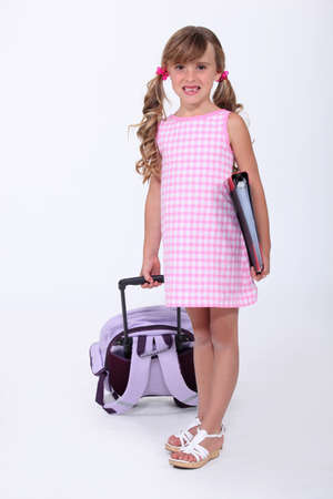classwork: Young girl ready to start school Stock Photo