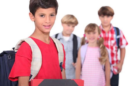 day of school: Children on the first day of school