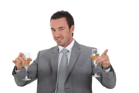 office party: Man holding champagne glasses