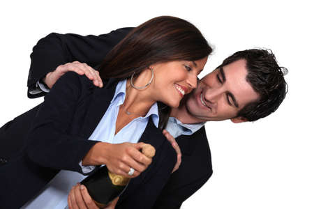 verve: couple with bottle of champagne