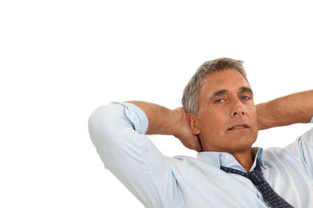 elbow chair: Man relaxing Stock Photo