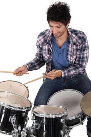 drum kit: Portrait of a drummer