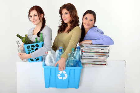 young women waste sorting photo