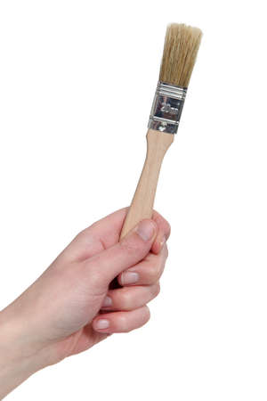 millimetres: A flat paintbrush Stock Photo