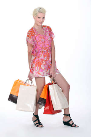blonde haired: Woman shopping