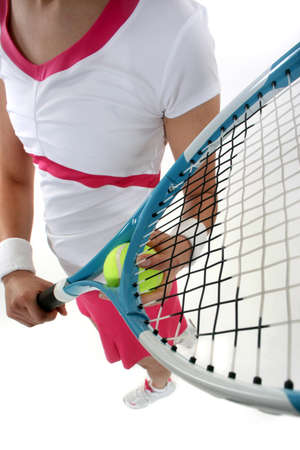 Close-up of woman holding  racquet Stock Photo - 15796898