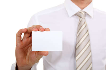 Executive with a blank businesscard photo