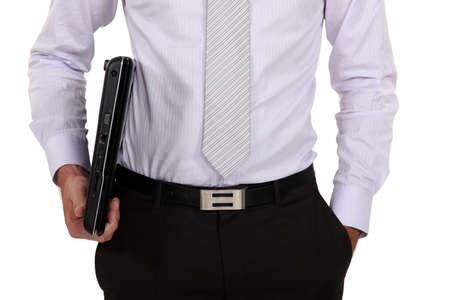 fascicule: Close-up of businessman holding laptop