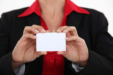 woman holding a business card Stock Photo - 15794001