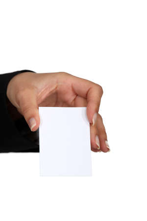 woman holding a business card Stock Photo - 15787888