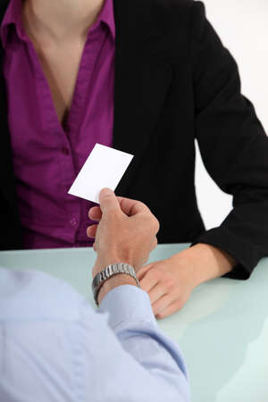 businessman giving his business card Stock Photo - 15794263