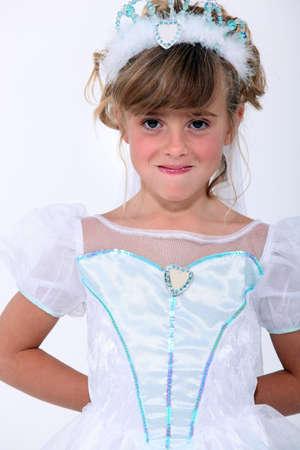 artificial hair: little girl wearing a princess dress
