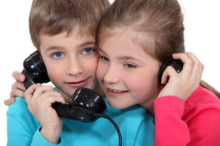 Children on the telephone photo