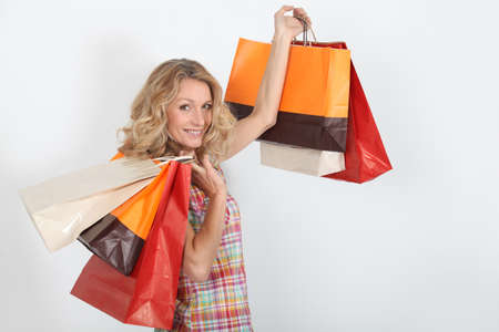 air show: Women satisfied with their purchases Stock Photo