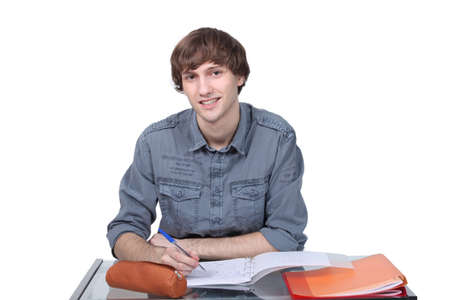 16 17: Teenager studying
