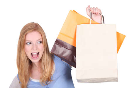 uncontrollable: Woman with her shopping bags Stock Photo