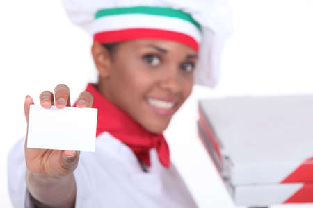 specialities: Pizza chef holding up a blank business card