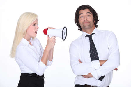 phlegmatic: girl with loudspeaker and man