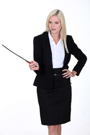 Businesswoman with a stick