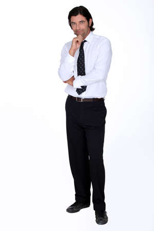 phlegmatic: tall fellow with dark hair Stock Photo