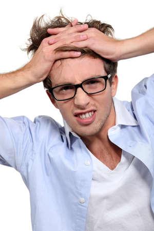 under pressure: young employee under pressure