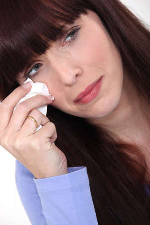 nervousness: Woman crying