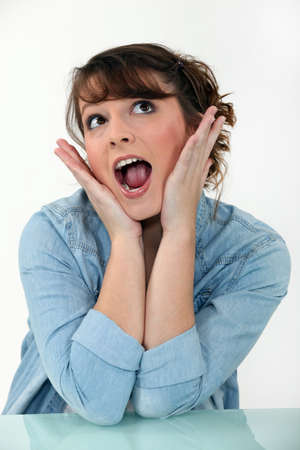 shy woman: Amazed woman Stock Photo