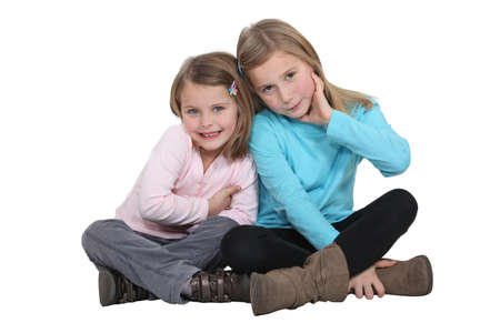 two person only: two little girls posing together