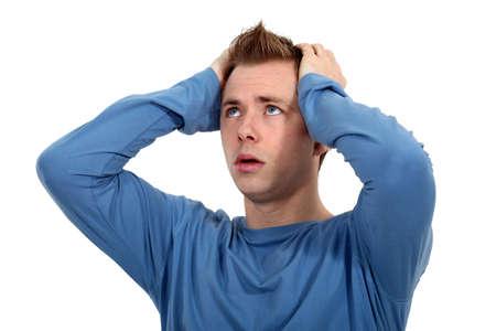 afflict: man sick of living Stock Photo