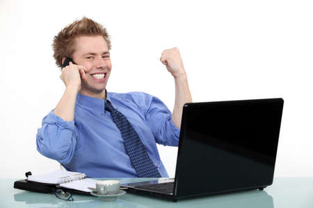 enthusiastic: Achievement at work Stock Photo