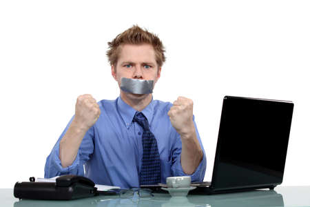 worker with a band on his mouth Stock Photo - 15832810