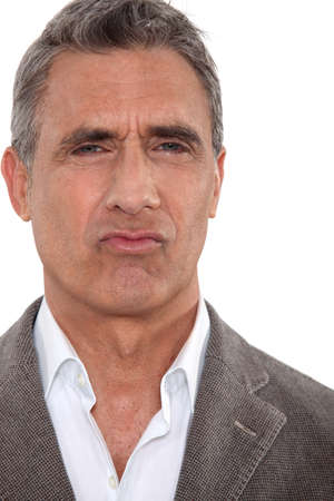 wrinkled brow: Funny man Stock Photo