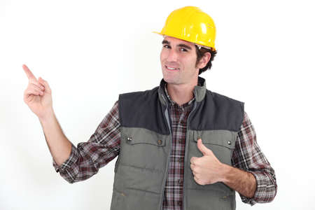 20 to 25 years old: Thumbs up from a builder Stock Photo