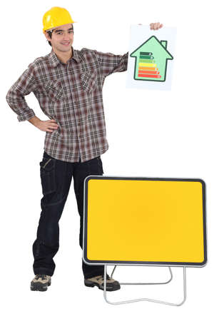Man with power rating sign Stock Photo - 15832947