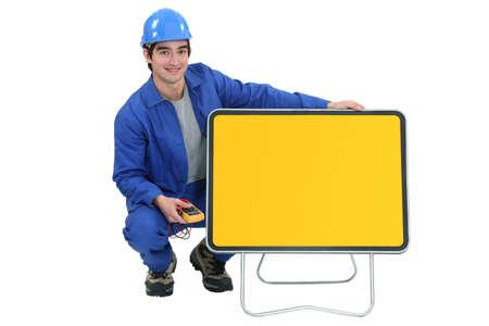 young electrician posing photo