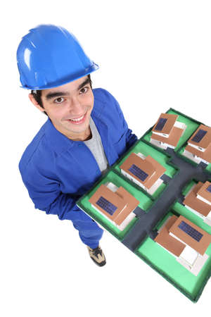craftsman holding an architectural model Stock Photo - 15832875