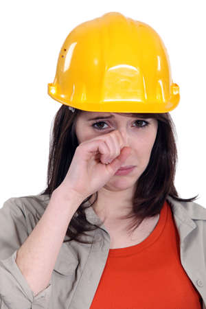 Female laborer crying photo