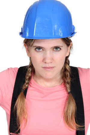 Blond female builder photo