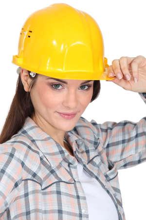 civil engineer: Female builder Stock Photo