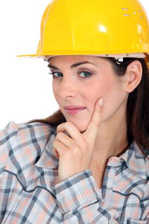 workwoman: Tradeswoman contemplating life