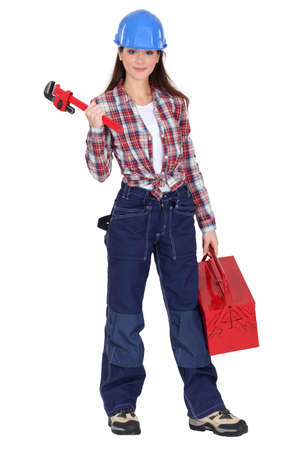 eager: Eager young female plumber