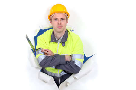 Tradesman with his arms crossed Stock Photo