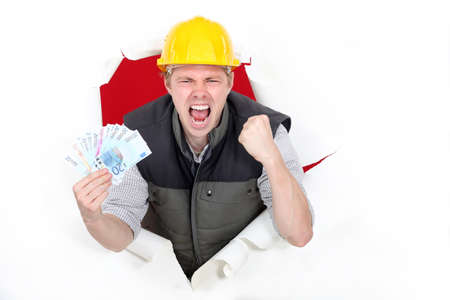 Builder excited about pay day Stock Photo - 15832844