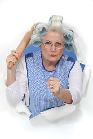 maniacal: A menacing old lady Stock Photo