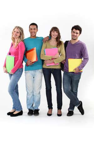 studygroup: Four university students with folders