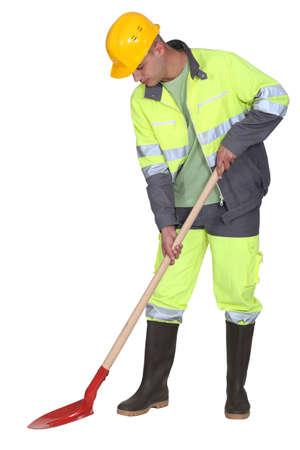 Manual worker with spade Stock fotó